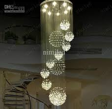 hanging a chandelier nimi115 dia 80cm 100cm 120cm led crystal light spiral staircase