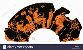Greek Vase Design Ancient Greek Vase Depicting A Lesson With Pupil Playing