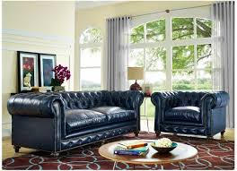 Chesterfield Sofa Set Chesterfield Sofa Chair Blue Leather Tufted Navy Living Room