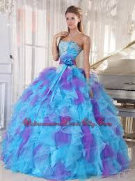 dress for quincea era baby blue and purple gown strapless floor length organza