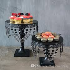 black metal crystal chandelier cake cupcake stands of wedding
