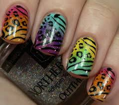 new nail design ideas zebra cow printed painted art pretty edgy
