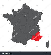 Provence France Map by Provencealpescote Dazur Red On Gray France Stock Vector 452796637