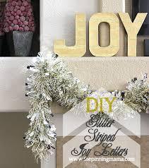 easy christmas decor gold glitter striped joy letters the