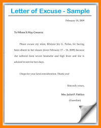 best solutions of example of excuse letter absent also