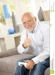 Thumbs Up Meme - older man giving thumb up with computer game stock photo image