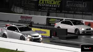 lexus sports car isf bmw m3 vs lexus is f 1 4 mile drag race road test tv youtube