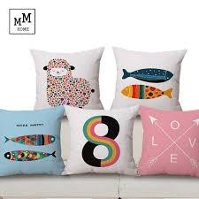 Sheep Home Decor Free Shipping Geometric Linen Cotton Pillow Fish And Sheep Home