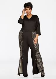 trendy plus size jumpsuits plus size jumpsuits 3 4 sleeve sleeve v neck wide leg one