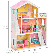 Dollhouse Kitchen Furniture Best Choice Products Large Childrens Wooden Dollhouse Fits Barbie