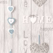 Home Wallpaper Decor by Fine Decor Love Your Home Wallpaper Blue Fd41719 Amazon Co Uk
