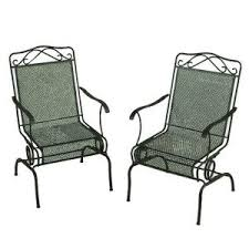 Wrought Iron Patio Chair Wrought Iron Green Patio Motion Dining Chairs 2 Pack W3929 D 2