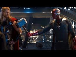 avengers age of ultron vision lifts thor s hammer scene movie