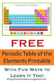 printable periodic table for 6th grade free periodic table of the elements printable homeschooling