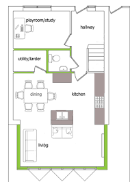 House Plans With Kitchen In Front Playroom With Front Window Utility Where Chimney Breast Is Then