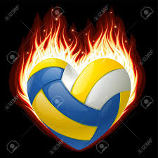 Flag On Fire Volleyball On Fire In The Shape Of Heart Royalty Free Cliparts