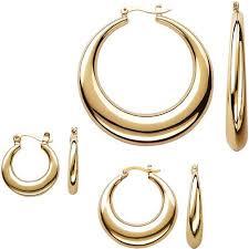 hoop earring gold tone tapered hoop earring set 3 pairs walmart