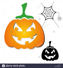 halloween scary orange and black pumpkin design elements stock