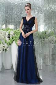 v cut royal blue fashion long evening dress with black net overlay