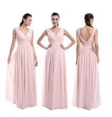 pearl pink v neck v back bridesmaid dress a line chiffon