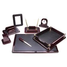 Office Desk Set Accessories Traditional Burgundy Oak And Leather 7 Desk Set Free
