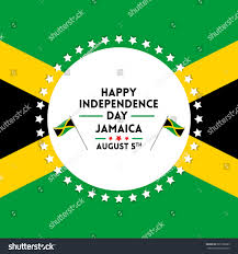 Jamaican Flag Day Happy Independence Day Celebration Jamaica Greetings Stock Vector