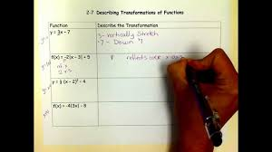 describing transformations of parent functions youtube