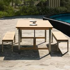 Expandable Patio Table Siro Teak And Stainless Steel Outdoor Expandable Table With