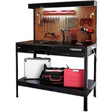 workbench garage work bench with light steel tools wood table home