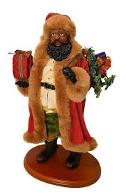 black santa claus figurine on wood stand 14 free us shipping