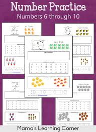 number practice worksheets 6 through 10 mamas learning corner