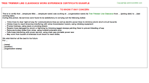 clearance certificate sample tree trimmer line clearance work experience certificate