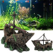resin material ornament pirate ship resin wreck sunk fish sailing