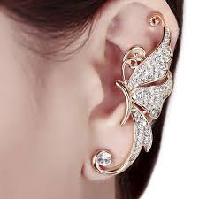 earring with chain to cartilage trendy lovely rhinestones inlaid butterfly shaped woman 1