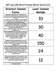 gcf and lcm word problem sort and match version 2 0 word