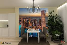 Dining Room Murals Mural Beautiful Night View Of Dubai In 2 Colours