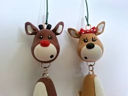 reindeer ornament set handmade polymer clay ornaments