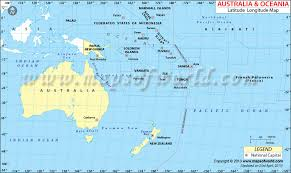 map of australia and oceania countries and capitals latitude and longitude map