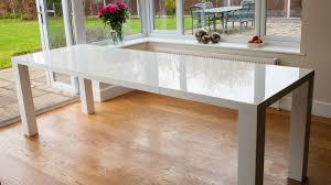 home design modern white extending dining table aver oak and