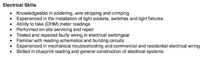 Example Skills Resume by Electrical Resume Skills Http Resumesdesign Com Electrical
