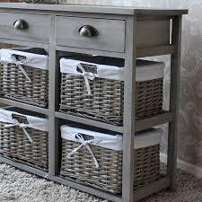 Cabinet Baskets Storage Vintage Grey Range Two Drawer And Four Wicker Basket Storage