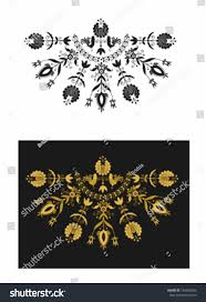 ornamental black gold roosters stock vector 149830406