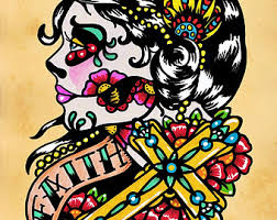 day of the dead prints faith and charity 5 x 7