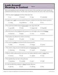using context clues with literature worksheets context