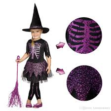 Halloween Witch Costumes Girls Halloween Witch Costume Kids Lovely Short Sleeves Dress Hat