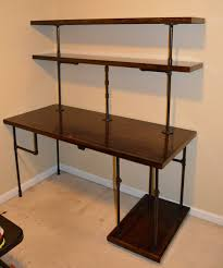 industrial pipe and walnut l shaped desk with shelves pallet