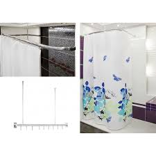 80cm Curtain Pole Curtain Rail Rod L Or U Shape Corner Pole Track In Chrome
