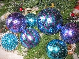 7 sequined blue ornaments christmas xmas ornament decoration ball
