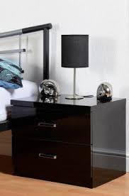 2 drawer black high gloss bedside cabinet bedroom furniture