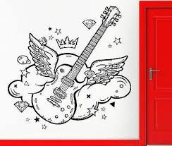 wall sticker vinyl decal guitar with wings pop rock song cool decor